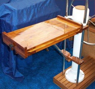 Teakflex Teak Leaf Cockpit Table Dropdown Narrow Pedestal